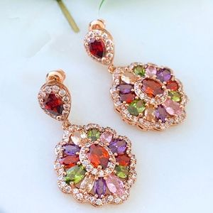 Sparkly Colorful CZ EARRINGS rose gold